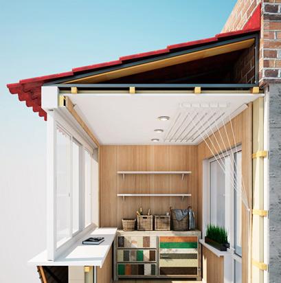 Монтаж крыши для балкона