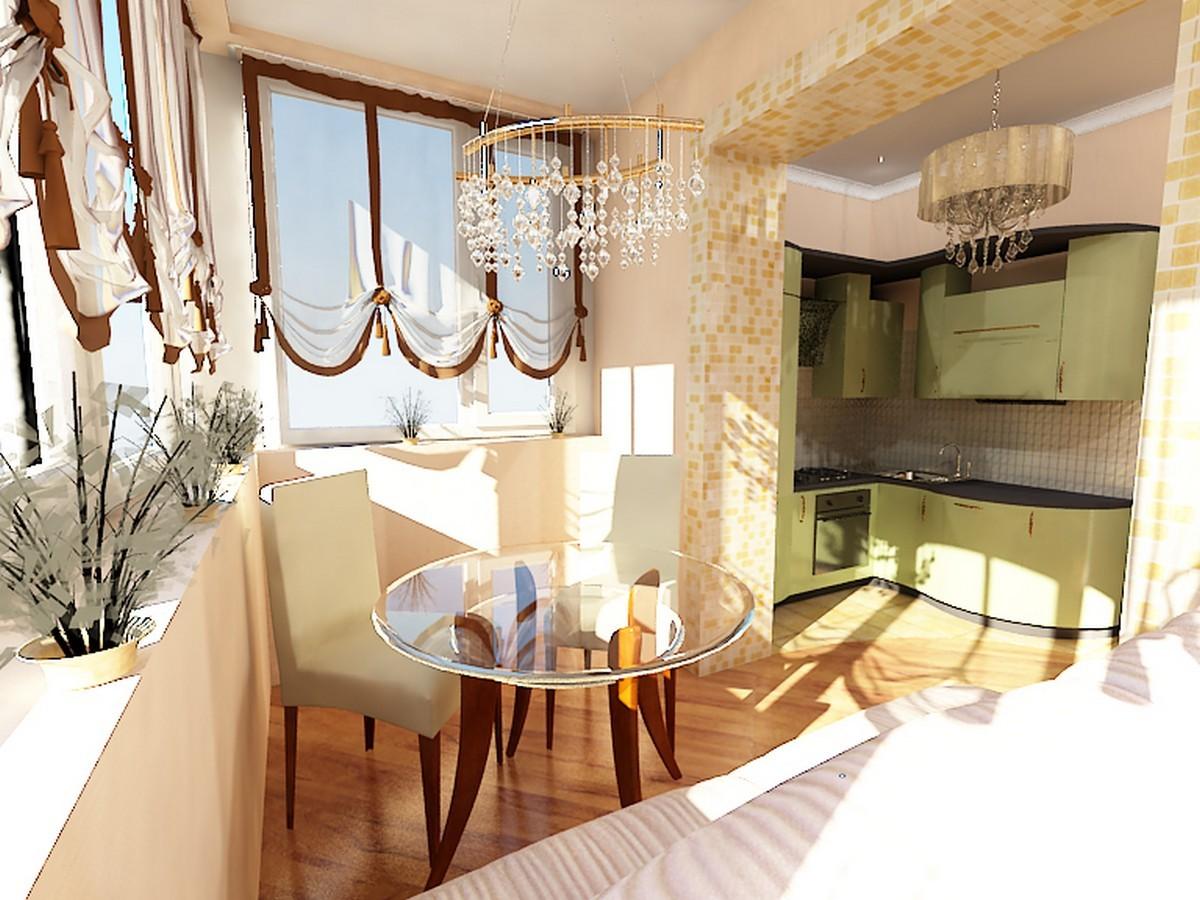 Присоединение к кухне - столовая зона на балконе