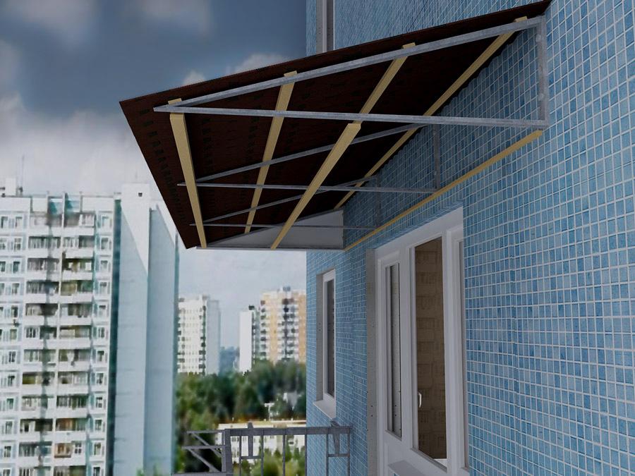 Крыша (козырек) на балкон последнего этажа